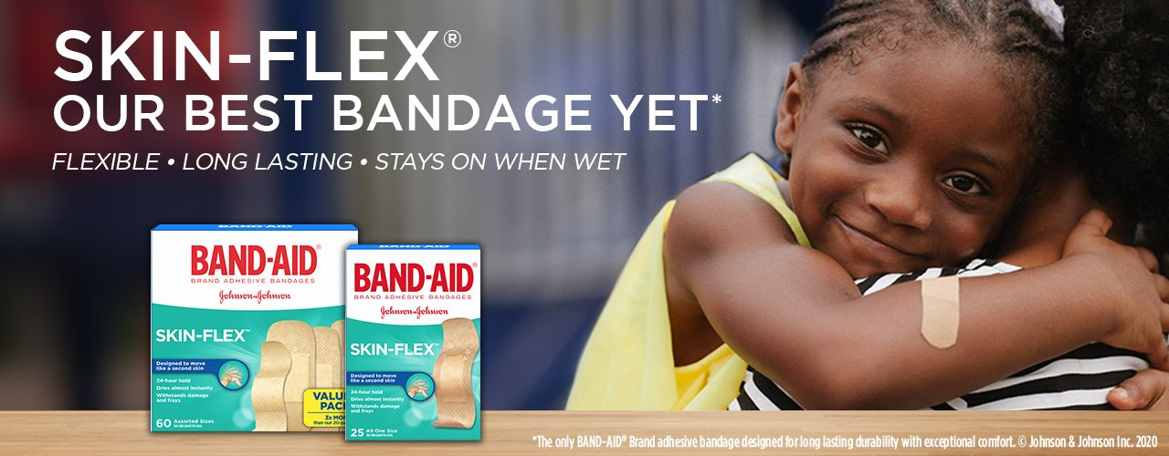 Band Aid Skin Flex bandages box and young girl wearing a bandage on arm