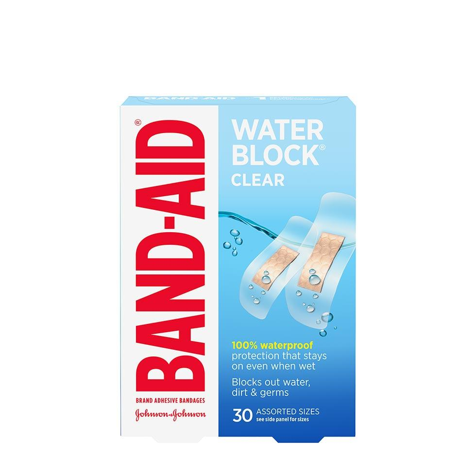 Band-Aid water block clear bandages in assorted sizes