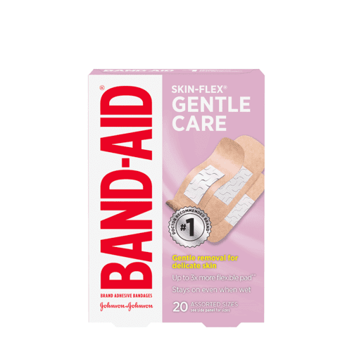 BAND-AID® SKIN-FLEX Gentle Care Bandages, Assorted, 20 Count Box