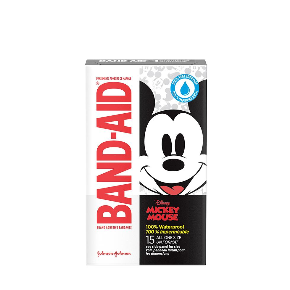 Disney Mickey Mouse BAND-AIDs for Cuts and Scrapes, 15 count, waterproof adhesive bandages