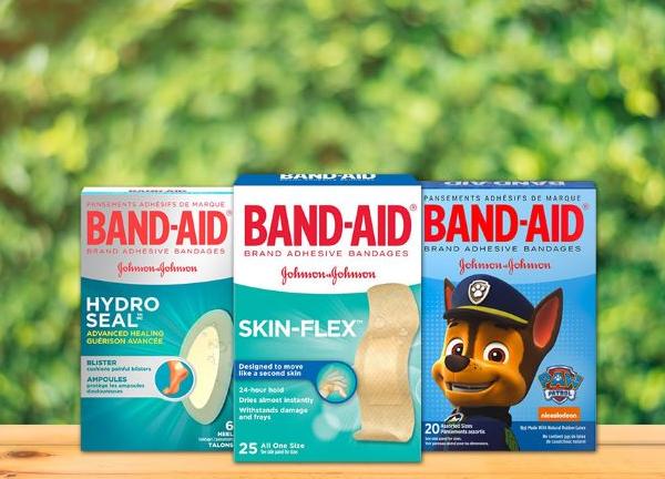 Three Band Aid boxes: Hydro Seal, Skin Flex and Paw Patrol Band Aid
