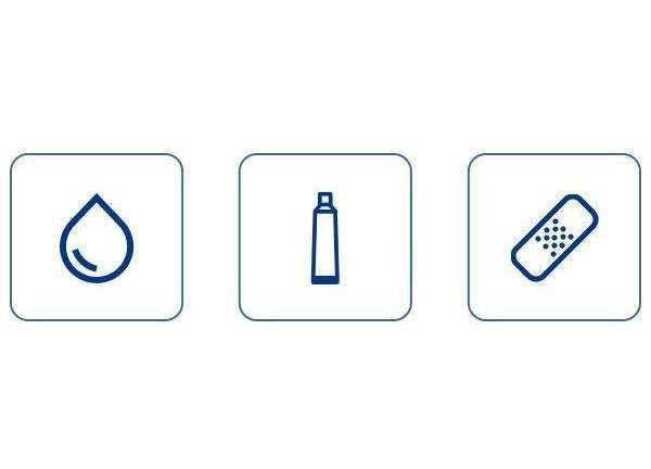 water drop, medication tube and bandage icons inside framed squares